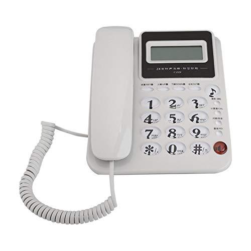 DAUERHAFT Función de Despertador Fuerte Teléfono de Oficina de Negocios Teléfono de casa Material ABS Duradero Multifuncional, para Negocios, para el hogar, para Oficina(White)