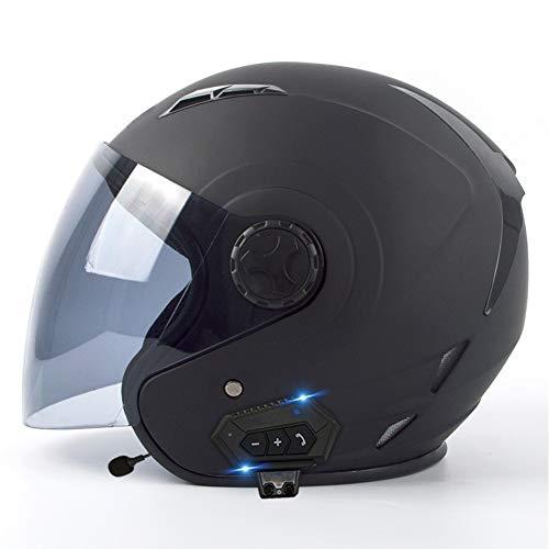 BDTOT Bluetooth Jet Helme Motorrad Helm Roller Helm Four Seasons Crash and Fog Motorradhelm mit Halbhelm aus ECE-zugelassenem ABS-Material Offroad Rennen für Unisex(55-62cm)
