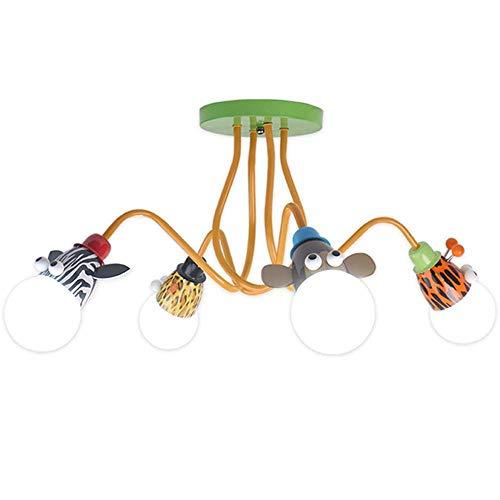 Lámpara de techo moderna para habitación de niños de dibujos animados, lámpara LED de dibujos animados con animales LED para niños y niñas, iluminación de candelabro para jardín infantes (4 lámparas)