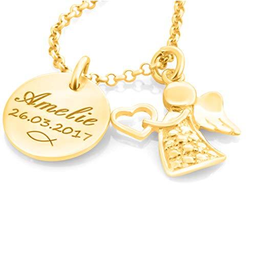 Taufkette Mädchen mit Gravur Gold Namenskette 925 Silber vergoldet Taufe Schmuck Geschenk Heilige Taufe Kette mit Namen Tauffisch Taufketten personalisiert | HANDMADE IN GERMANY