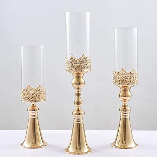 10PCS / LOT Nordic Kerzenleuchter Tisch Kristall Kerzenständer Geometric romantisches Gold Kerzenständer for Hochzeit Abendessen Dekoration Ffangpe Shop ( Color : 10pcs L holders , Size : One Size )