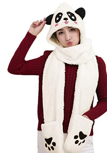 Women Girls Cute Panda Animal Winter Hats 3 in 1 Warm Soft Plush Hoodie Cap Gloves Mitten Scarf Set Cold...