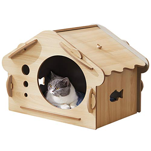 FVANF Wooden Cat House, Kitty House, Cat Shelter with Hanging Cat Toy and Cat Scratcher, Cute Pet...