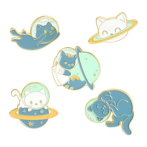 5Pcs Alloy Brooch Badge Pins Set Cartoon Planet Space Kitty Pins for DIY Backpacks Hats Cowboy Jackets Jewelry Student Toys Gifts