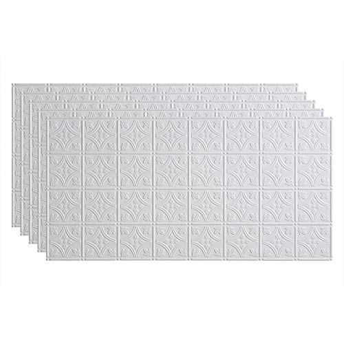 FASÄDE Traditional Style/Pattern 1 Decorative Vinyl 2ft x 4ft Glue Up Ceiling Panel in Matte White (5 Pack)