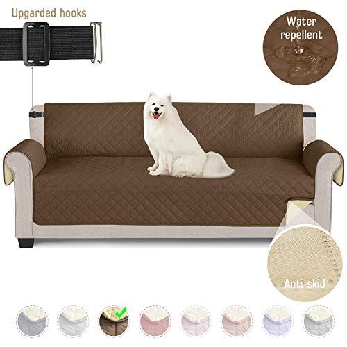 TAOCOCO Sofaschoner Sofa Abdeckung wasserdichte Sofa Überwürfe mit elastischen Riemen Rutschfes für Hunde Haustieren, Abnutzung und Riss schützen (Braun, 4 Sitzer)