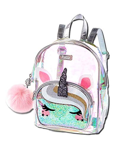 Justice Unicorn Mini Backpack - Girls Clear Holographic Travel Daypack - Small Waterproof and Glitter Bookbag Purse