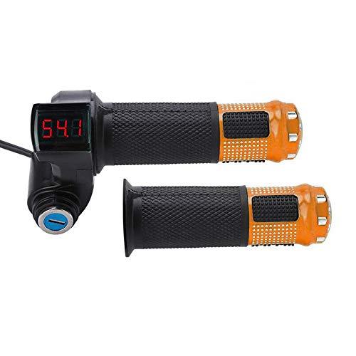 Puño de acelerador para bicicleta eléctrica, voltaje de la batería con indicador LED y acelerador de llave