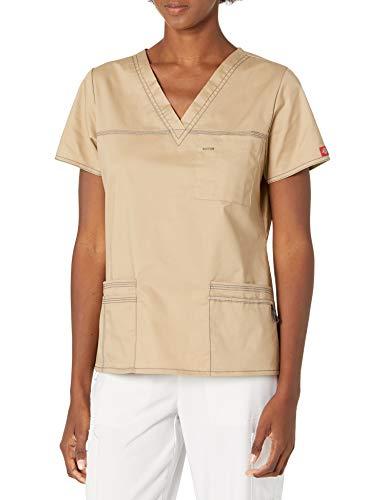 Dickies Damen GenFlex Junior Fit V-Ausschnitt Scrub Shirt - Beige - X-Klein