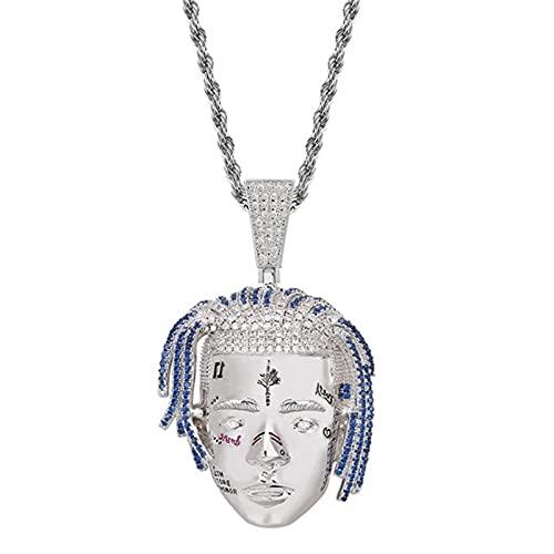 OMKMNOE XXXTETACION Ice out out Cadena, Collar de Oro Unisex de Oro 18ct con Colgante, Diamantes de imitación, circonia cúbica, Cadena para Mujeres Damas,Plata