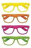 Boland 02604 - Partybrillen Set, 4 Stück, Gelb, Orange, Pink und Grün, ohne Gläser, Spaßbrillen,...