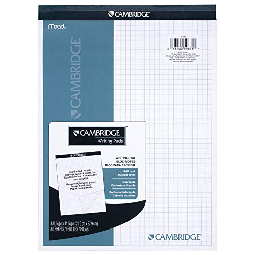 Mead 59878 Cambridge Stiff-Back Planning Pad, Quad Ruled, 8.5 x 11 Inches, White, 80 Sheets per Pad