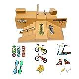 Kidsdream Pièces de Rampe de kit de Parc de Skate pour Doigt Skateboard Accessoires d'entraînement avec 19 pièces de Planches à roulettes, Rampes, Patins, Trottinettes,vélos et Planches à roulettes