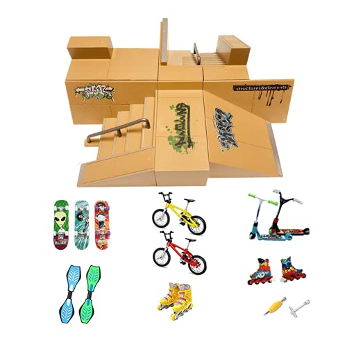 Kidsdream - Kit de rampa para monopatín de dedo, accesorios de entrenamiento con 19 piezas, monopatines, rampas, patines, scooters, bicicletas y tablas de ruedas