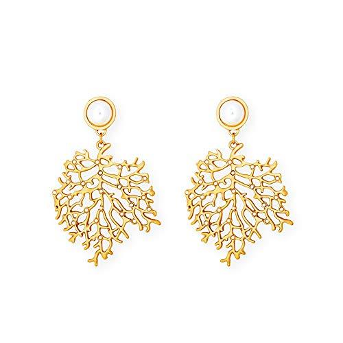 Cool Girl Caliente Popular del diseño de Coral en Forma de joyería del aro Pendientes de la Perla Gota Pendientes for Las señoras (Color : Gold)