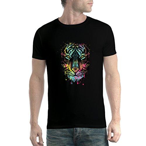 Tigre Cara Animales Gato Colorido Hombre Camiseta Negro XL