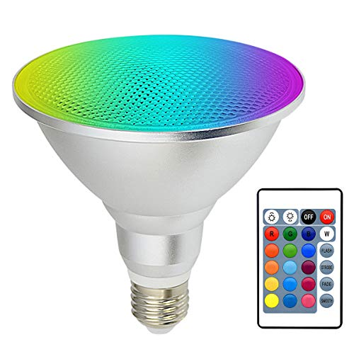 Kuniwa PAR38 Spotlight 30W, led strahler außen, RGB+Warmweiß leuchtmittel Farbwechsel Glühlampe E27 Schraube, Dimmbare Outdoor Floodlight Rasendekoration mit Fernbedienung, IP65 wasserdicht