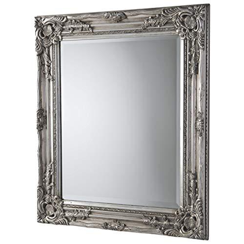 HSD Himalaya Zout Direct Groot Zilver Barok Prachtig Decoratieve Antieke Ornate Spiegel Houten Frame Muur Opknoping Badkamer Slaapkamer Zaal Woonkamer 94x74