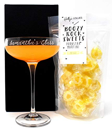 Personalised Cocktail Saucer Glass Gift Set (Pornstar Martini Rock Sweets)