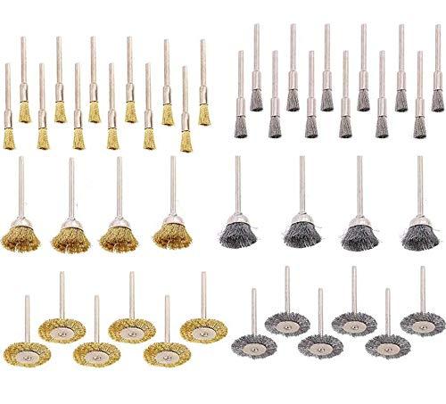 44個セット3種類真鍮/ステンレス鋼ワイヤーブラシ ボウル型、T型、ペン型 ワイヤーブラシ 研磨パッド 研削、研磨ツー ル 研磨ホイール 錆落とし 塗装剥がし