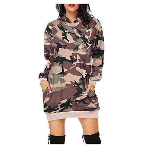 Langarm Kapuzenpullover Lang Damen Camouflage lässig mit Kapuze Schädel Drucken Sweatshirts Lang Minikleid Hoodie Oberteile Tops URIBAKY