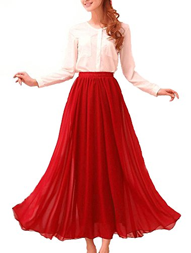 Afibi Womens Chiffon Retro Long Maxi Skirt Beach Ankle Length Skirt (Medium, Red)