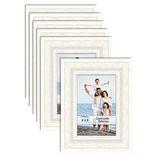 Icona Bay 4x6 Picture Frames (Alpine White, 6 Pack), French Country Style Picture Frame Set, Wall Mount or Table Top, Countryside Collection