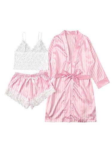 SheIn Women's Sheer Lace Bralette and Striped Shorts Pajama Lingerie Set with Robe Pink Large