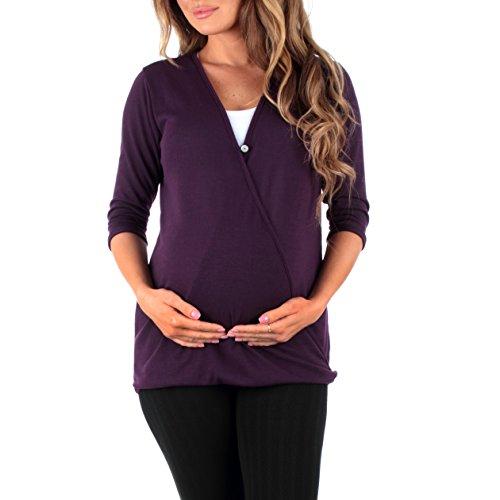 Mother Bee Women's Criss Cross Maternity and Nursing Wrap Tunic, X-Large, Purple
