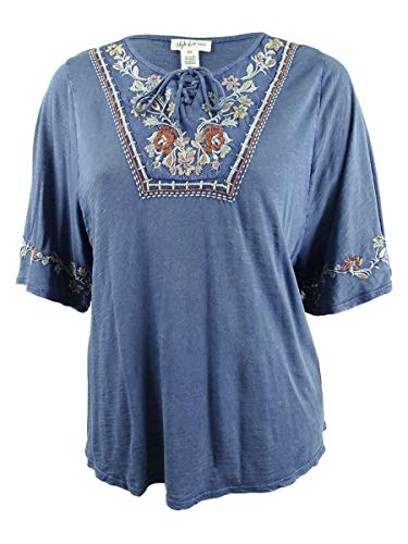 Style & Co. Womens Plus Lace-Up Embroidered Peasant Top Blue 1X