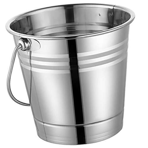 Cabilock Cubitera de metal de 3 litros, cubo de hielo de acero inoxidable con asa,...