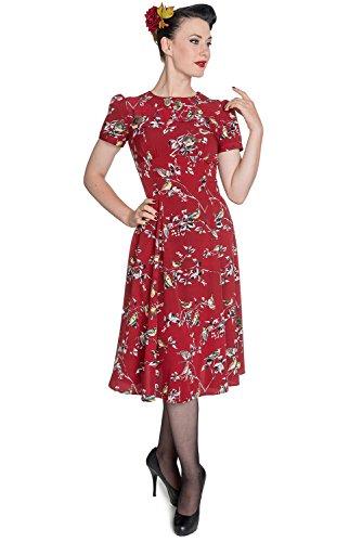 Hell Bunny, abito da té da donna, in stile retrò/anni '40 e '50/pin-up/seconda guerra mondiale, ideale per serata a tema Red XS - 40