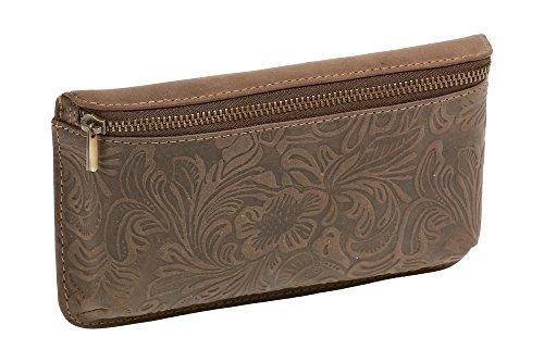 Preisvergleich Produktbild LEAS Gürteltasche mit Volllederausstattung und Floral-Muster Echt-Leder,  dunkelbraun Vintage-Collection