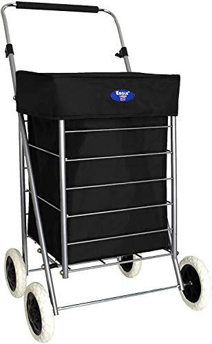 Carrito de la compra de 4 ruedas – Carro plegable – 47 L y 60 L de capacidad – Carro de almacenamiento con asa de fácil agarre – Carro plegable con ruedas (negro, 60 litros)