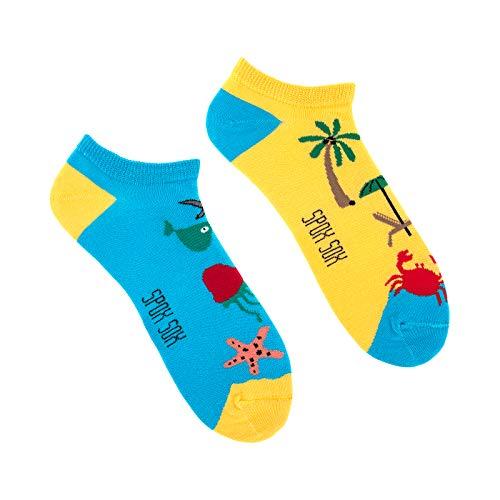 Spox Sox Low Unisex - mehrfarbige, bunte Sneaker Socken für Individualisten, Gr. 36-39, Meer & Strand