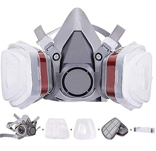 10 pcs/set Reusable Half Face Cover Respirator with 2 Replaceable Filters and Dual Vents, No-Fog Paint Face Cover and Dust Cover, Safety Cover for Painting, Welding, Cleaning, Woodworking,Construction