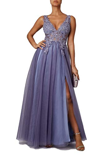 Mascara Steele Blue MC186051 Embroidered Lace Prom Dress 38