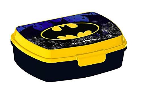 Kinder Brotdose / Lunchbox / Sandwich Box wählbar: Spiderman - Batman - Thomas - Mickey aus Kunststoff BPA frei - Geschenk für Jungen (Design Batman)