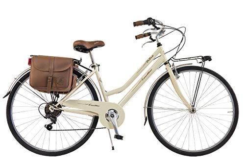 Via Veneto by Canellini Bicicletta Bici Citybike CTB Donna Vintage Retro Via Veneto Acciaio Panna Taglia 46
