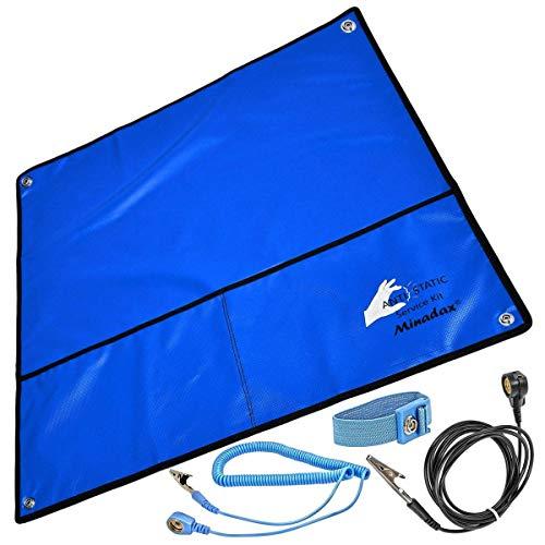 Minadax® 60 x 60cm Antistatik-Set: ESD Antistatikmatte in Blau, Handgelenksschlaufe und Erdungskabel - Für EIN sicheres Arbeiten und Schutz Ihrer Bauteile vor Entladungsschaeden