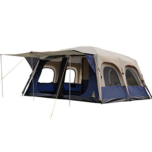 Yongenee. Outdoor Doppio Strato Impermeabile Solare 6-10 Persone Due camere e Un Living Room Family Camping Tent Zaino Tenda
