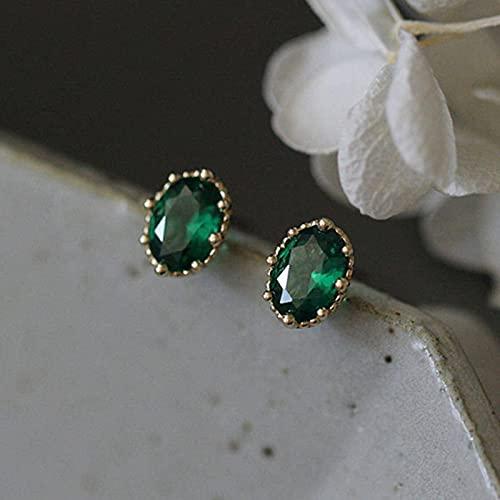 N\C Pendientes pequeños ovalados de Esmeralda para Mujer Pendientes de circonita de Cristal Verde Pendientes de Oro de Plata de Ley 925 adecuados para Bodas