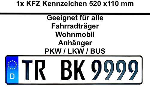 1x Stück Geprägt Kennzeichen 520 x 110 mm 52 x 11 cm /// Geeignet für alle Fahrradträger Wohnmobil Anhänger Auto KFZ PKW LKW BUS (Maximal 8 Zeichen)