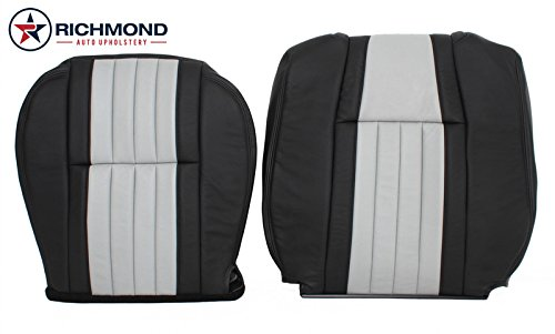 Richmond Auto Upholstery - Driver Side Bottom & Lean Back Replacement Leather Seat Covers, Black & Gray (Compatible with 2003 Ford F-150 F150 Harley Davidson Edition Supercharged)
