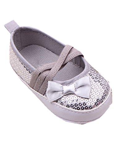 YICHUN Bébé Filles Chaussures de Premier Pas Robe Chaussures de Princesse Souples Paillette (Longueur de Semelle:11CM, Argent)