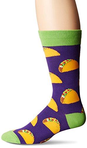 Socksmith Men's Taco Crew Socks Novelty Footwear Purple, One Size Fits Most