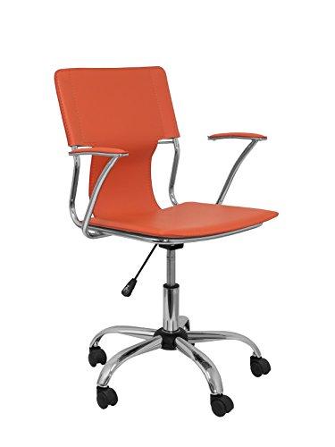Piqueras y Crespo model 214 ergonomische bureaustoel met vaste armen, in hoogte verstelbaar en 360 graden draaibaar, zit- en rugkussens van kunstleer, oranje