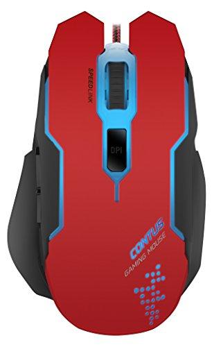 Speedlink CONTUS Gaming Mouse - 5 Tasten Maus mit LED Beleuchtung, Einstellbar bis 3200 dpi, Ergonomische Form,  für PC, Notebook, Laptop, schwarz-rot
