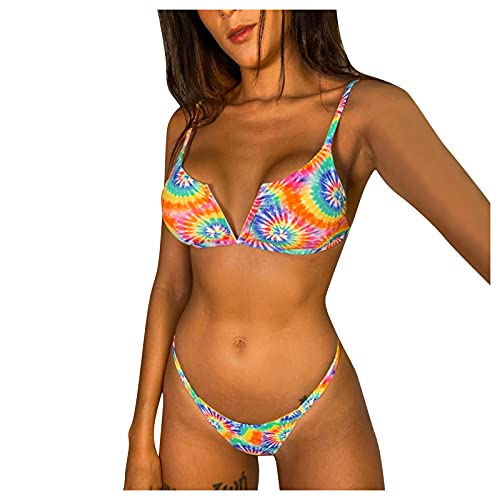 YANFANG Traje De BañO Bikini Cintura Alta con Estampado Honda para Mujer,Conjunto Dos Piezas Sexy Mujer Push Up Alta,Monokini Bikinis Beach Tassels Bathing Suit Padded Swimsuit Swimwear,Multicolor,L