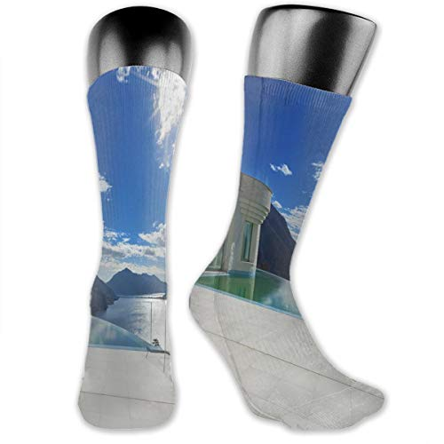 Papalikz Compression Medium Calf Socks,Modern Summer Penthouse With Infinite Pool Ocean Sea Scenery Image